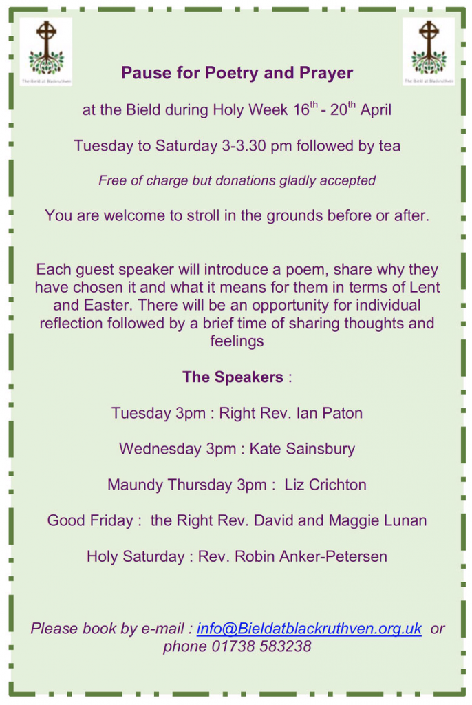 Pause for Poetry and Prayer @ The Bield | Scotland | United Kingdom